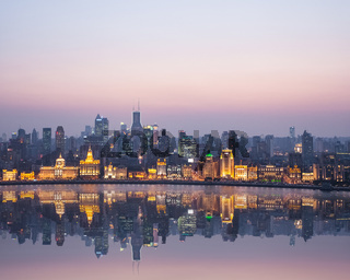 beautiful shanghai bund in nightfall