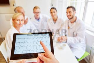 Ärzte analysieren Herzfrequenz im EKG