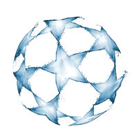 Football ball made of water splashes white background
