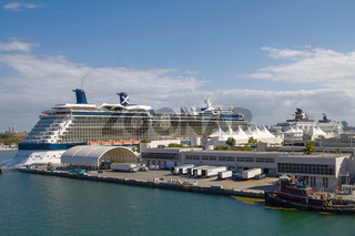 Cruise Ships in The Port of Miami, Florida, United States