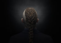 man with dreadlocks, looks like a viking, Iroquois haircut