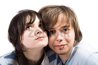 Portrait of the young beauty couple. Isolated