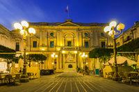 National Library of Malta,illuminated at evening