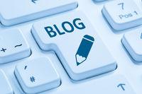 Blog schreiben online im Internet auf Computer Tastatur blau