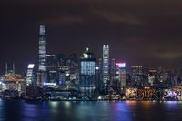 Hong Kong illuminated at night