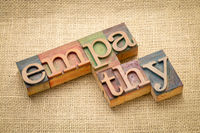 empathy word abstract in wood type