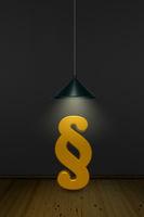 paragraphsymbol unter einer lampe - 3d rendering