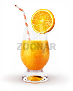 Orange juice in a glass with straw and slice.