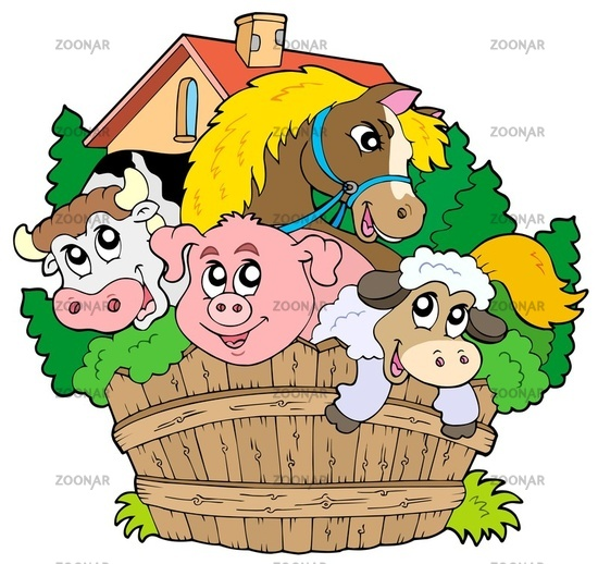 Group of farm animals - isolated illustration.