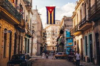 Street with Cuban flag in Havana
