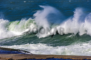 Stormy green waves