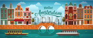 Flat Amsterdam panorama Holland, River sea canal channel bridge boat embankment bicycle multi color street.
