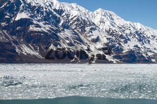 Small Icebergs Floating in Sea Close to Hubbard Glacier in Alaska