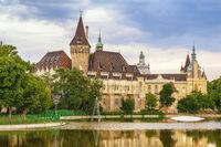 Budapest city skyline at Vajdahunyad Castle, Budapest, Hungary