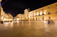SYRACUSE, ITALY - JUNE 23, 2017: Ortigia downtown in Syracuse by night