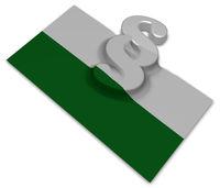 paragraph symbol und flagge von sachsen - 3d illustration