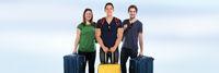 Reise reisen Gruppe junge Leute Textfreiraum Copyspace Banner Menschen Urlaub Koffer