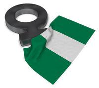 female symbol and flag of nigeria - 3d rendering