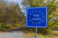 Czech border sign by the road