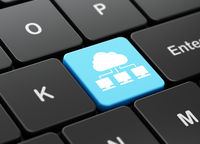 Cloud technology concept: Cloud Network on computer keyboard background