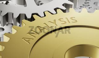 Metal gear wheels with the engraving Analysis - 3d render