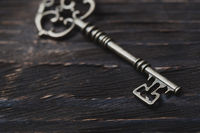 Vintage skeleton key on a table