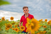 Man standing in front of sunflowers