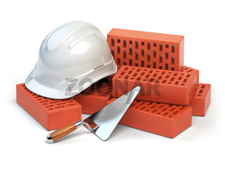 Hardhat,  bricks and trowel  isolated on white. Costruction concept.