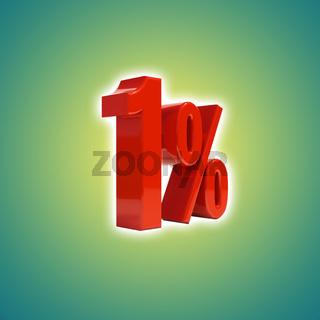 Discount 1 Percent Off. 3D Illustration