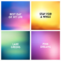 Abstract vector sunset blurred background set. Square blurred background - sky clouds colors With love quotes.