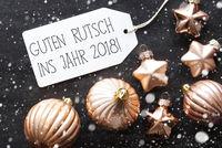 Bronze Christmas Balls, Snowflakes, Guten Rutsch 2018 Means New Year