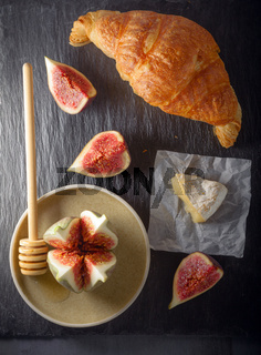 Croissant with soft cheese and figs