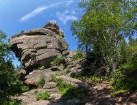 Cross at the top of cliff on Mount Tserkovka resort Belokurikha in the Altai Krai