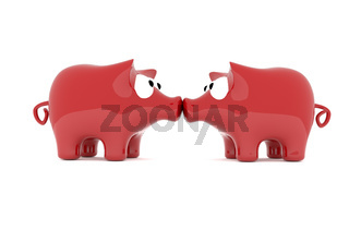 Kiss of two piggy bank, 3d image