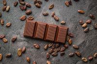 Dark chocolate bar and cocoa beans.
