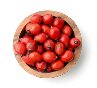 Top view of rose hips in bowl