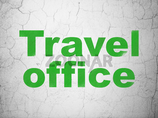 Tourism concept: Travel Office on wall background