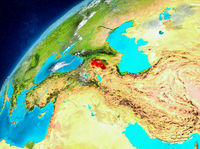 Space view of Armenia in red