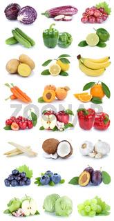 Obst und Gemüse Früchte Apfel Orange Farben frische Collage Salat Beeren Freisteller freigestellt isoliert