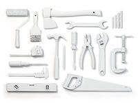 Set of of white tools isolated on white background. Mock up. WIth paths.