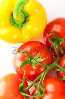 Fresh ripe tomatoes and yellow pepper