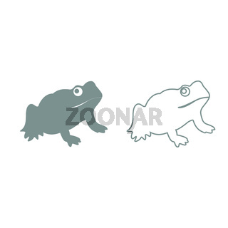 Frog grey set icon .
