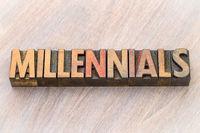 millennials word abstract in wood type