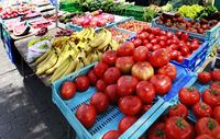 Farmer's Market with Vegetables and Fruits in Spain