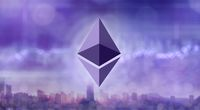 Ethereum icon against the background of ultraviolet city
