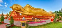 Reclning Buddha. Vientiane, Laos. Panorama