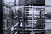 Abstract window reflections in morden office building.