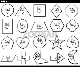 black and white cartoon basic geometric shapes