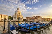 Venice Grand Canal and Gondola Boat when sunset, Venice (Venezia), Italy