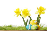 Yellow Flowers and easter eggs